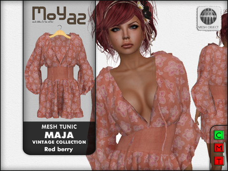 Maja Mesh tunic~ Vintage collection - Red berry