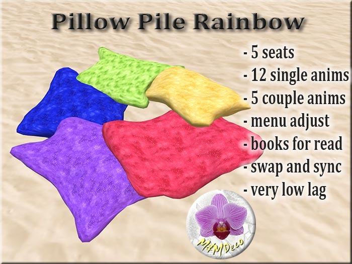 Pillow Pile Rainbow