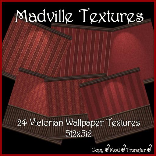 Madville Textures - Red Victorian Wallpaper Textures