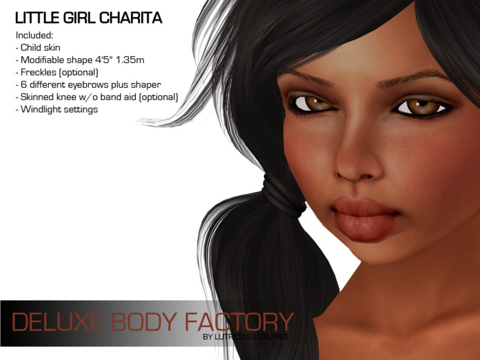 Child skin and shape - Little girl Charita, Deluxe Body Factory's collection for kids including Super Mesh Bros HUD