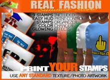 """REAL FASHION"" Mens ""print my stamp"" t shirt - DEMO"