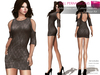 CLASSIC RIGGED MESH Women's Female Ladies Round Neck Cut Out Shoulder Cut Out Back Mini Dress - 4 TEXTURES