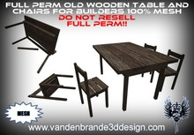 ~Full perm MESH old wooden tables + chair Broken table included!