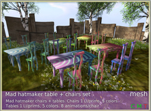 Mad hatmaker tables + chairs set