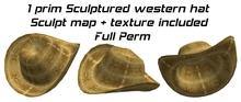 Scuptured western cowboy cowgirl hat sculpture - sculpt map
