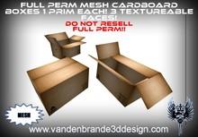 ~Full perm Cardboard Boxes 100% Mesh 1 prim / land impact