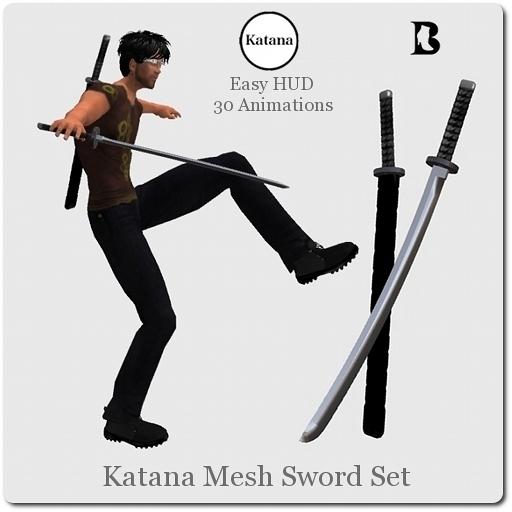 Blackburns  Katana Mesh Sword Set with Animations HUD
