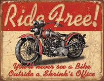 Antique TIN SIGN - Motorcycle Ride Free decorative for wall