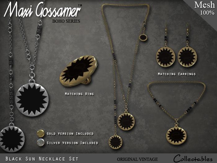 Necklace -  Black Sun Necklace Set