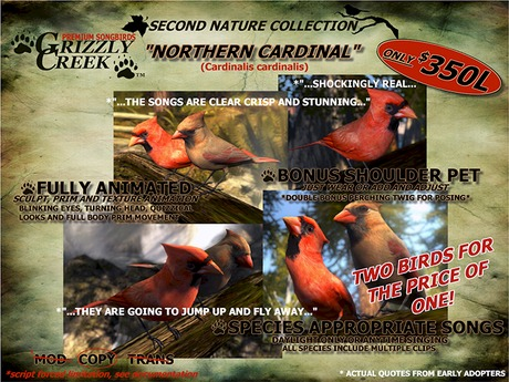 Grizzly Creek Northern Cardinal PAIR -Rez or Wear-
