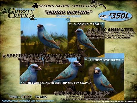 Grizzly Creek Songbird Indigo Bunting -Rez or Wear-