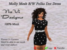 Molly Mesh Dress - Black n White Polka Dot