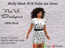 Molly Mesh Dress - White n Black Polka Dot
