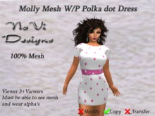 Molly Mesh Dress - Pink n White Polka Dot