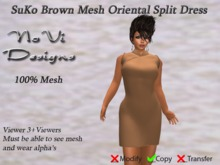 Suko Brown Mesh Split Dress