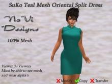Suko Teal Mesh Split Dress