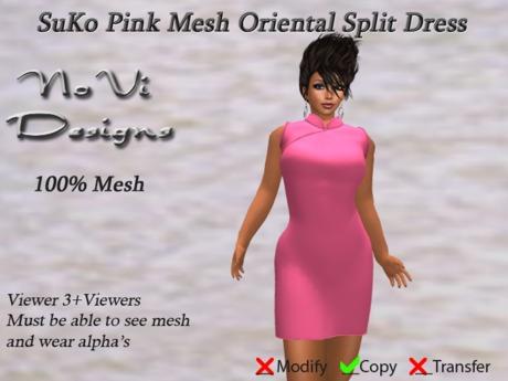 Suko Pink Mesh Split Dress