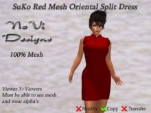 Suko Red Mesh Split Dress