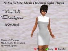 SuKo White Mesh Split Dress