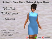 Suko Lt Blue Mesh Split Dress