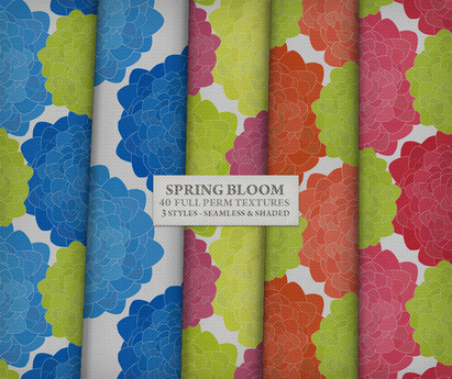 Spring Bloom { 40 seamless & shaded fabrics in 3 styles }