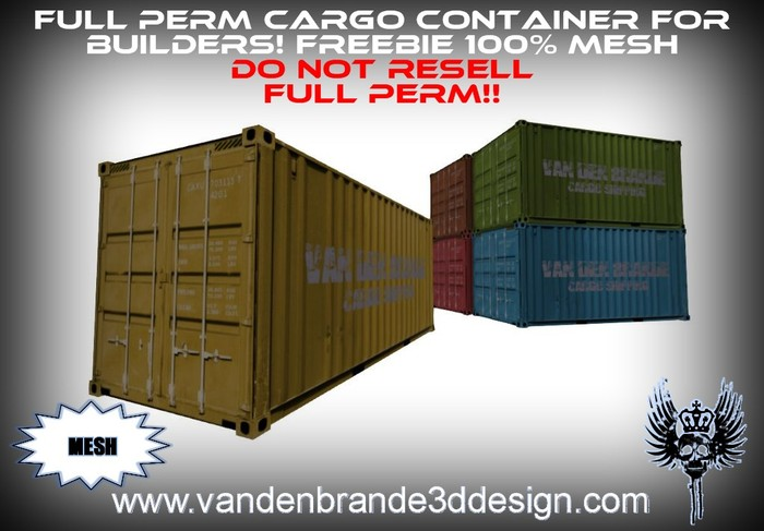 ~Full perm Cargo shipping containers 100% mesh! 1 land impact !!FREEBIE!!