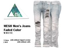 -ATTIC- MESH Men's Faded Jeans (White)
