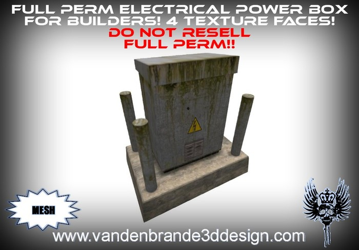 ~Full perm Electrical box / Power box 100% mesh! 4 texture faces