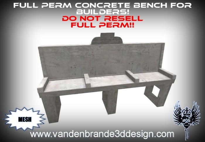 ~Full perm Concrete bench 100% mesh!