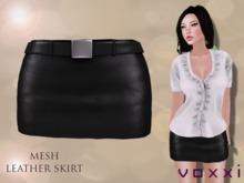 .::voxxi::. OLYA - Mesh Leather Skirt [Black]