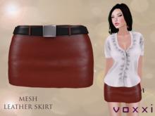 .::voxxi::. OLYA - Mesh Leather Skirt [Red]