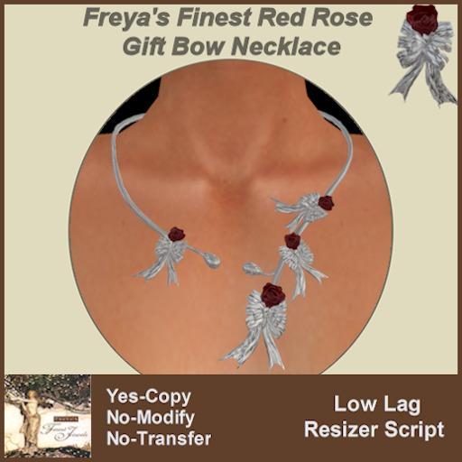 Freya's Finest Red Rose Gift Bow Choker