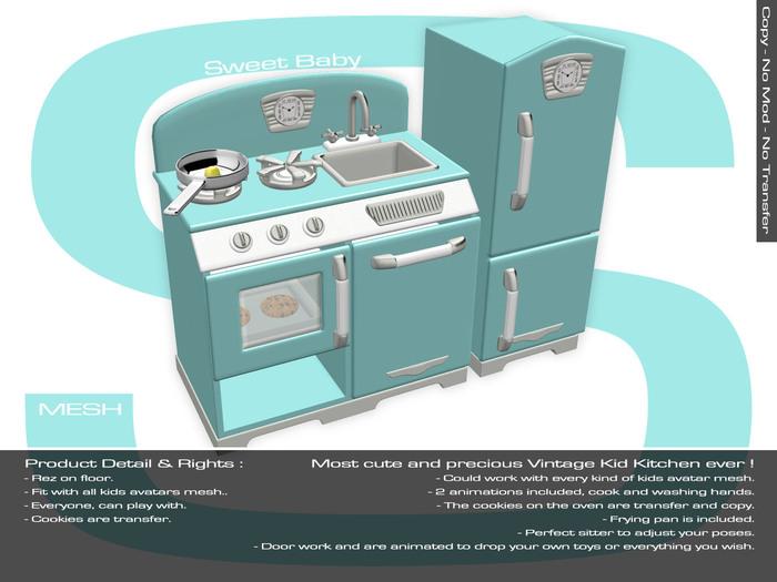 Sweet Baby - Kids Kitchen Vintage Mesh - Blue