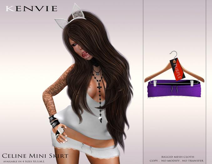 KENVIE . mesh Celine Mini Skirt Purple