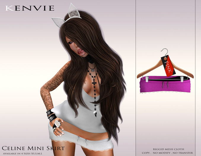 KENVIE . mesh Celine Mini Skirt Pink