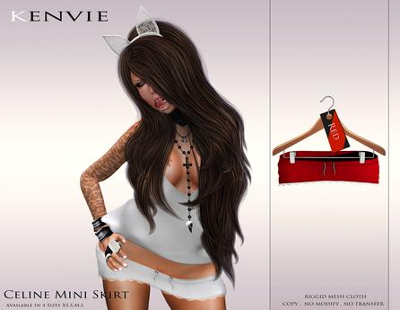 KENVIE . mesh Celine Mini Skirt Red