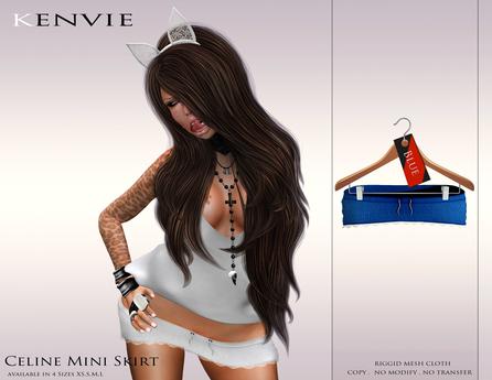 KENVIE . mesh Celine Mini Skirt Blue