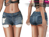 %50SUMMERSALE CLASSIC RIGGED MESH Women's Female Ladies Denim Micro Shorts with Pockets - 2 TEXTURES Blue Black