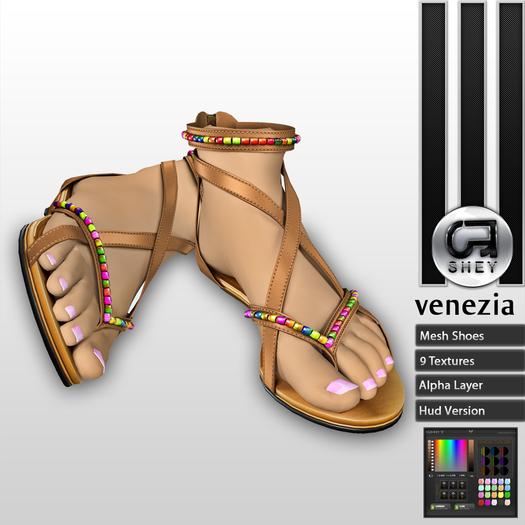 SHEY - Venezia Beaded Mesh Sandals