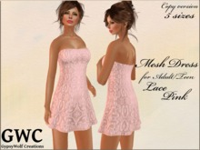 GWC Mesh Dress Adult -Lace Pink