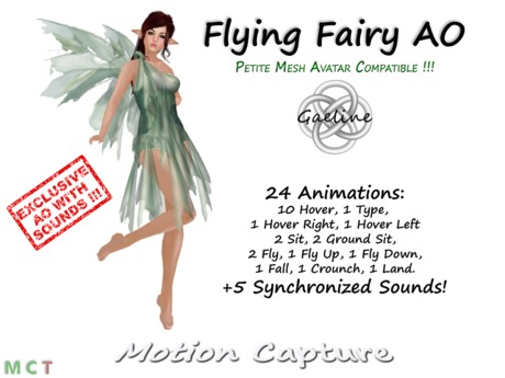 Gaeline Animations - Flying Fairy AO : Also compatible with the PETITE Mesh Avatar !