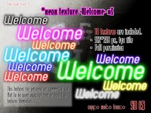 Neon sign texture -Welcome- #3 ★10 colors / Full permission