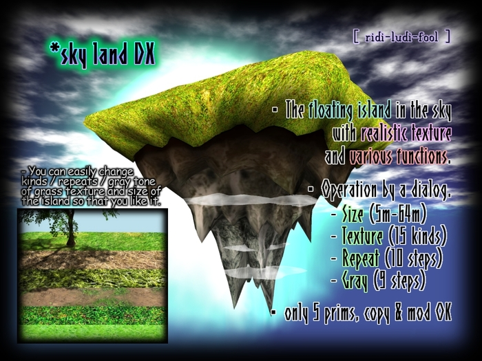 Multi-functional & convenient! Deluxe Sky Island ★ 15 realistic grass texture! For foundation of your sky house.