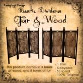 [DDD] Rustic Fur & Wood Dividers - 100% Mesh, 1 Prim Each, 24 combinations