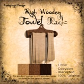 [DDD] High Wooden Towel Rack - 100% Mesh, 1 Prim, 3 wood tones