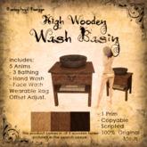 [DDD] High Wooden Wash Basin - 100% Mesh, 1 Prim, 3 wood tones