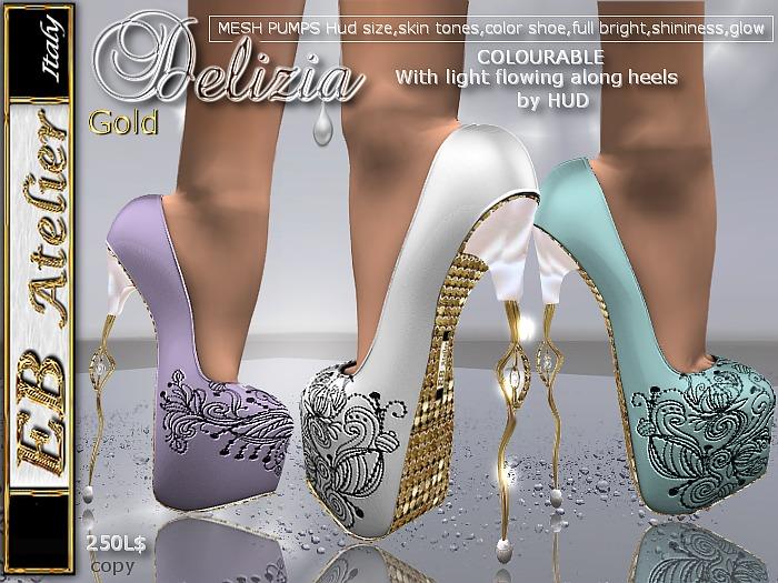 EB Shoes  Delizia GOLD Pumps (change color) w/heels flowing light - italian designer