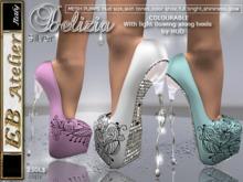EB Shoes  Delizia SILVER Pumps(change color) w/heels flowing light - italian designer