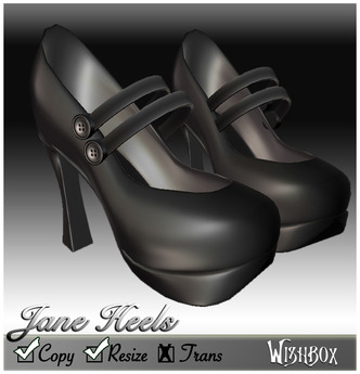 [Wishbox] Double-strap Buttoned Mary Jane Heels in Charcoal Black Maryjanes Goth Gothic