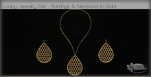 .:Glamorize:. Loopy Jewelry Set in Gold - Necklace & Earrings